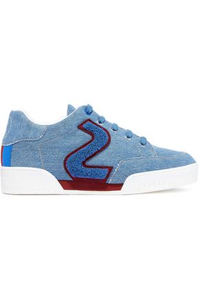 STELLA McCARTNEY Bouclé-trimmed embroidered denim slip-on sneakers