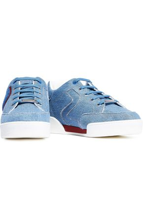 STELLA McCARTNEY Terry-appliquéd embroidered denim sneakers