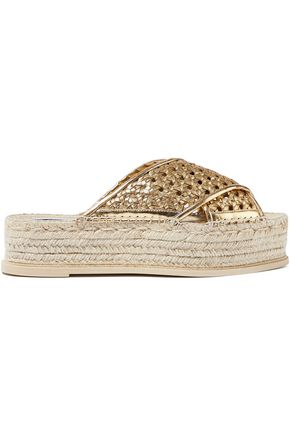 STELLA McCARTNEY Metallic faux leather platform espadrille slides