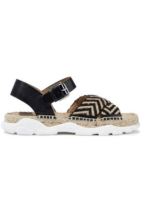 STELLA McCARTNEY Woven jute and faux leather espadrille sandals