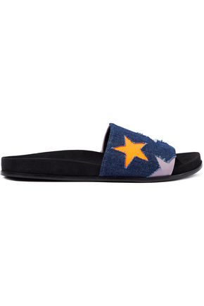 STELLA McCARTNEY Laser-cut faux leather and denim slides
