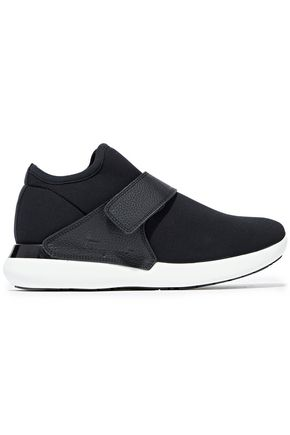 SALVATORE FERRAGAMO Palau neoprene and textured-leather sneakers
