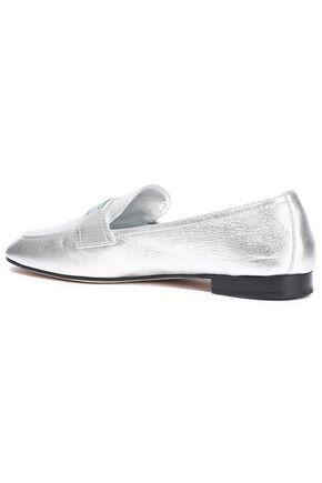 PRADA Metallic leather loafers