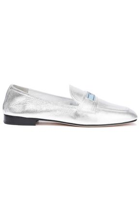 PRADA Metallic leather loafers