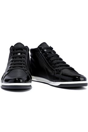 PRADA Coated leather-trimmed shell sneakers