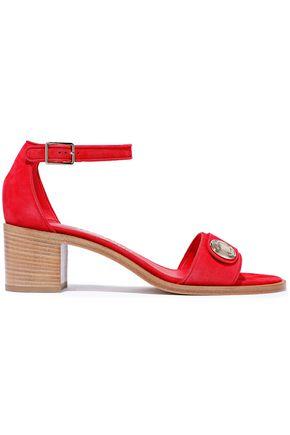 SALVATORE FERRAGAMO Button-embellished suede sandals