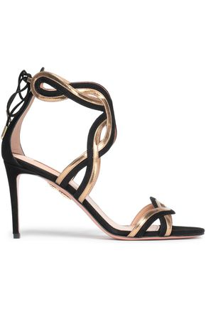 AQUAZZURA Metallic-trimmed suede sandals