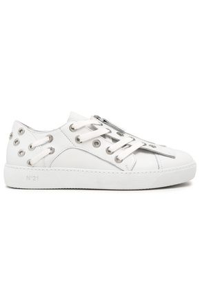 N°21 Eyelet-embellished leather sneakers
