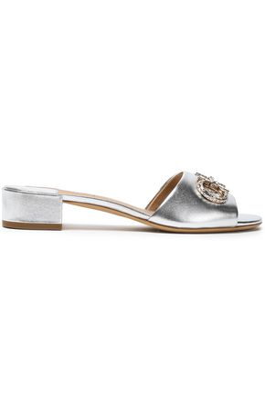 SALVATORE FERRAGAMO Crystal-embellished metallic leather mules