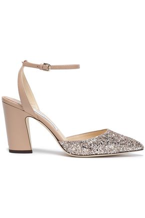 JIMMY CHOO Micky 85 glittered leather pumps