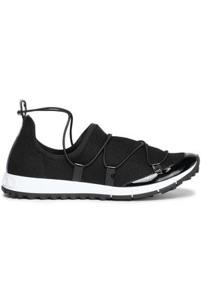 JIMMY CHOO Patent leather-trimmed mesh sneakers