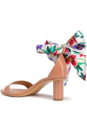SALVATORE FERRAGAMO Bow-detailed floral-print twill and patent-leather sandals