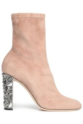 JIMMY CHOO Embellished stretch-suede ankle boots
