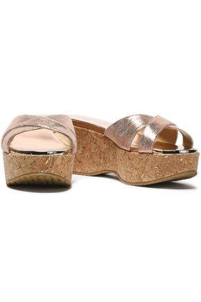 JIMMY CHOO Metallic snake-effect leather wedge sandals