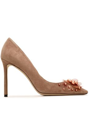 JIMMY CHOO Embellished suede pumps