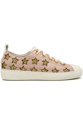 N°21 Laser-cut glittered leather sneakers
