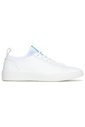 KENZO Neoprene-trimmed leather sneakers