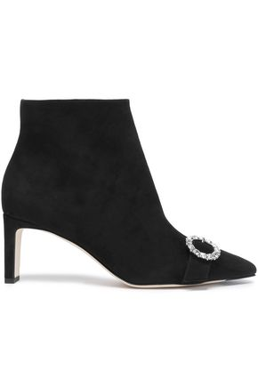 JIMMY CHOO Embellished suede ankle boots