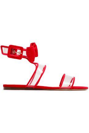 VALENTINO | Valentino Garavani Bow-Embellished Velvet And Pvc Sandals | Goxip