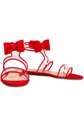 VALENTINO GARAVANI Bow-embellished velvet and PVC sandals