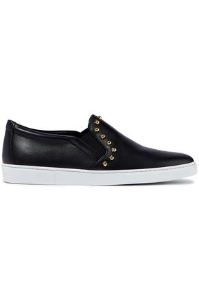 SALVATORE FERRAGAMO Spargi studded leather slip-on sneakers