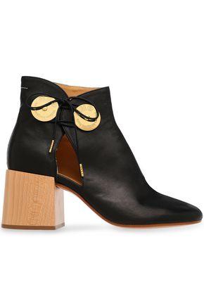MM6 MAISON MARGIELA Cutout embellished leather ankle boots
