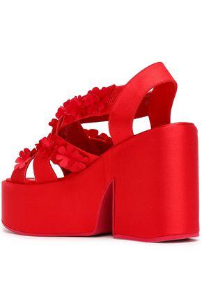 SIMONE ROCHA Floral-appliquéd satin platform sandals