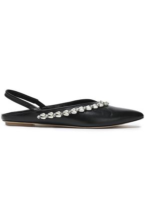 SIMONE ROCHA Embellished leather slingback point-toe flats