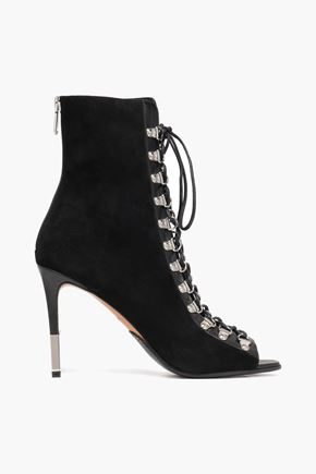 BALMAIN Lace-up suede ankle boots