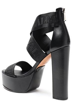BALMAIN Jacquard and leather platform sandals