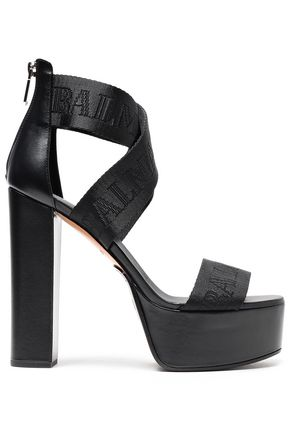BALMAIN Jacquard and leather platform sandals