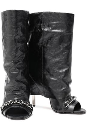 BALMAIN Chain-trimmed leather boots