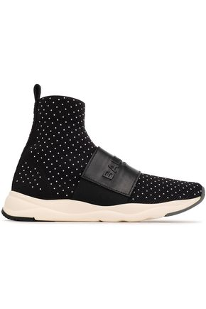 BALMAIN Studded stretch-knit sneakers