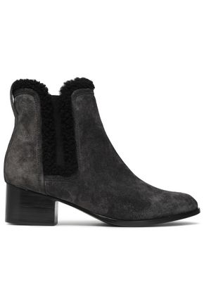 RAG & BONE Walker shearling-trimmed suede ankle boots