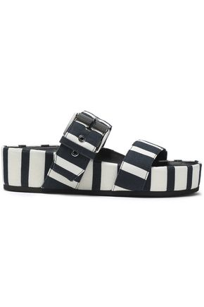 RAG & BONE Buckled striped canvas platform slides