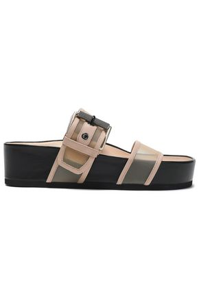 RAG & BONE Evin leather-trimmed mesh slides