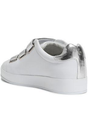 RAG & BONE Metallic-trimmed leather sneakers
