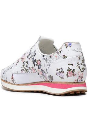 RAG & BONE Floral-print leather slip-on sneakers