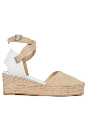 RAG & BONE Kea leather and suede wedge espadrilles