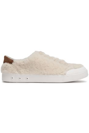 RAG & BONE Suede-trimmed shearling sneakers
