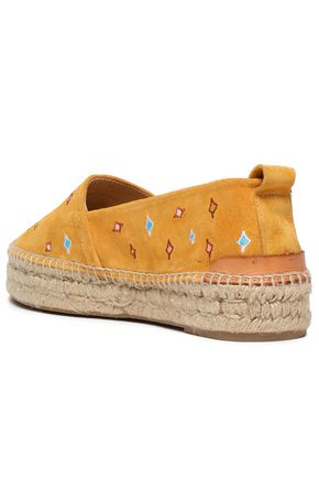 RAG & BONE Embroidered suede espadrilles
