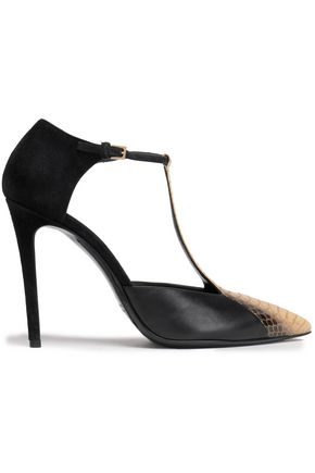 ETRO Elaphe-trimmed leather and suede pumps