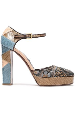 ETRO Elaphe and jacquard platform pumps
