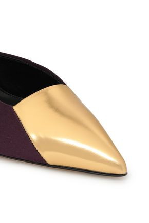ETRO Satin, suede and metallic leather pumps