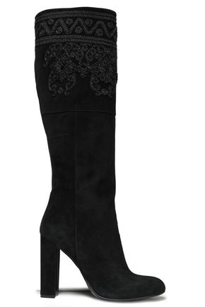 ffd72b932da ETRO Embroidered suede knee boots