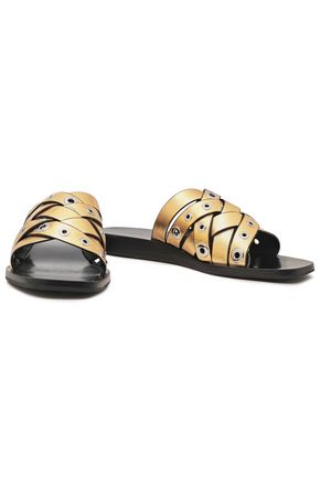 RAG & BONE Eyelet-embellished metallic leather slides