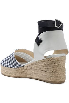 RAG & BONE Kea leather-trimmed gingham canvas espadrilles