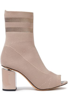 ALEXANDER WANG Cat leather-trimmed stretch-knit sock boots
