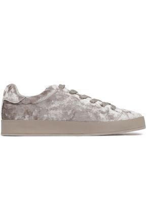 RAG & BONE Rb1 Low leather-trimmed crushed-velvet sneakers