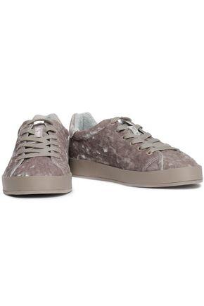 RAG & BONE Rb1 Low leather-trimmed crushed-velvet sneakers